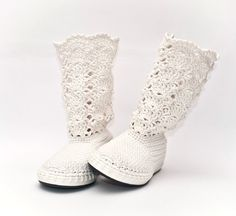 Wedding Crochet Boots White Lace Boots Made to Order by JoyForToes, €89.00