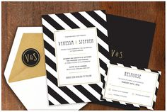 Black and White Stripes with Gold Foil by LittleBridgeDesign