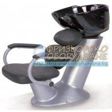 Измивна колона за фризьори модел FO7067 - Фризьорска мивка с черна керамика, фибростъко и тапицерия от синтетична кожа.