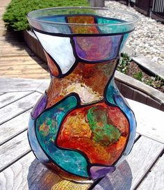 Art: Big Shapely Stained Glass Painted Vase by Artist Diane G. Casey
