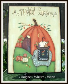 Primitive Pumpkin Fall Autumn Wood Sheep Saltbox House by Primgal, $22.95