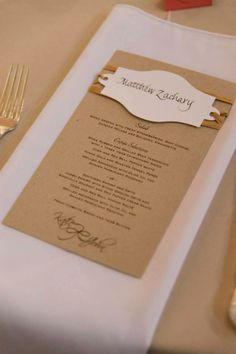 Super fun place cards I created that wrapped around the menu! Beautiful wedding coordinated by Southern Celebrations Weddings & Events