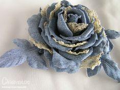 Джинсовая. Denim Flowers, Leather Flowers, Lace Flowers, Fabric Flowers, Fabric Ribbon, Fabric Art, Fabric Crafts, Felt Roses, Denim Ideas