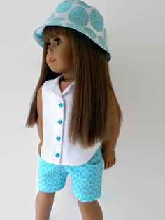 American Girl Doll Clothes - Summer Short Set includes shorts, sleeveless blouse and bucket hat by 18Boutique