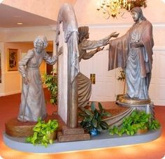 """The """"Come Unto Me"""" bronze sculpture took more than a year to make its first appearance. Unveiled in the year 2000, the original life-sized bronze monument stands in the grand foyer of the Spilsbury Mortuary in St. George, Utah. It has become a scenic attraction, in addition to a comfort to countless families at a most difficult time of their lives."""