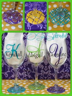 Personalized 20 oz Wine Glass - Forget about wine charms - always know your glass & sip in style! on Etsy Diy Wine Glasses, Decorated Wine Glasses, Hand Painted Wine Glasses, Vinyl Glasses, Monogram Wine Glasses, Wine Glass Crafts, Bottle Crafts, Fru Fru, Vinyl Crafts