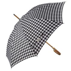 e3a79ca94c7da4 Balios Prestige Walking Umbrella, Real Wood Handle & Bamboo Shaft, Auto Open,  Windproof Designed in UK (gingham plaid jacquard black & white).