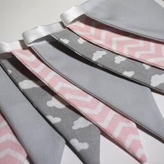 Pink Chevron and Grey Cloud Mini Fabric Bunting  100% Cotton