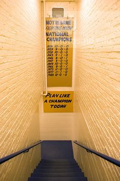 Play Like A Champion Today sign in the Notre Dame Football locker room...Photo by Matt Cashore