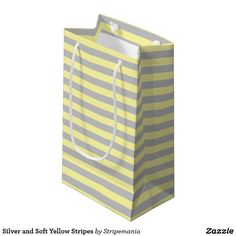 Silver and Soft Yellow Stripes Small Gift Bag