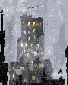 "Pascal Campion : ""Estimated time of Arrival: a few days. Illustration Noel, Winter Illustration, Christmas Illustration, Illustrations, Wallpaper Natal, Pascal Campion, Henri Matisse, Christmas Art, Christmas Night"
