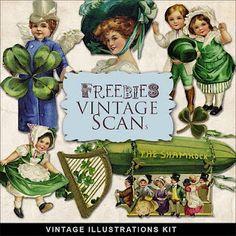 free to print - Vintage St Patrick's Day, Shamrocks & Leprechans