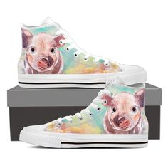 Pig painting-canvas shoes - Womens High Top - White - Pig painting-w-canvas shoes / Tout Rose, Pot Belly Pigs, Painted Canvas Shoes, Teacup Pigs, Mini Pigs, Baby Pigs, Cute Pigs, Shoulder Handbags, Painting Canvas