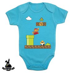 Baby Super Mario onesie by SugarBabyLove on Etsy