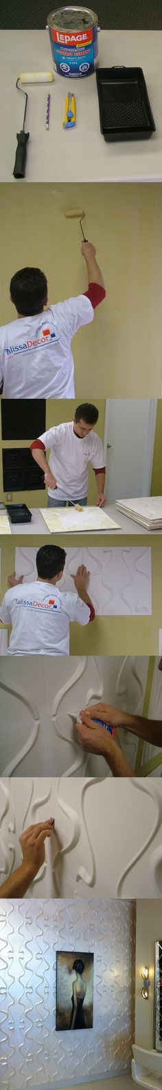 #TalissaDecor. Quick and easy DIY Project transforming a plane wall into a 3D Accent wall.  All you need is glue, roller, utility knife and of course the 3D Wall Panels of your choice.  Follow these simple steps and create the WOW effect !  Lightweight, easy to install and maintenance free, these panels can be used to decorate an entire room or to add focus by creating an accent wall.  #3Dwallpanels #3Dwalls #modernwalls #accentwalls #3Dwalltile #wavywall #wavypanels #walldecor #3Dwalldecor
