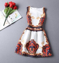 Slim jacquard printed sleeveless dress HG32414JHU