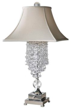 Lamp Silver Metal Accented Cascading Crystals Square Bell Lamp Decor | lamp | lighting, furniture | accents, home decor | accessories, wall decor, patio | garden, Rugs, seasonal decor,garden decor,patio decor,lamps and lighting