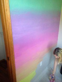 Girls bedroom - 58 Cute Interior Ideas You Will Definitely Want To Keep Unicorn Rooms, Unicorn Bedroom, Unicorn Wall, Rainbow Unicorn, Rainbow Bedroom, Rainbow Wall, Rainbow Girls Rooms, Rainbow Room Kids, Rainbow House