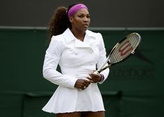 Serena takes centre court for her 2nd round match in an Adorable White Bolero!