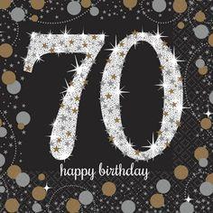 Check out Sparkling Celebration Birthday Beverage Napkins from Birthday In A Box 70th Birthday Decorations, 70th Birthday Parties, Birthday Cake Decorating, Birthday Numbers, Happy Birthday Cakes, 60th Birthday, Birthday Wishes, Birthday Greetings, Happy Anniversary Wedding