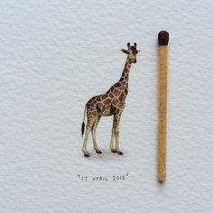Day 28/100 (7/25 #freefridays) : Giraffe | Giraffa camelopardalis giraffa. ☀️ 15 x 23 mm. SOLD.  #potluck100pfa #miniature #watercolor #giraffe #painting #africa #tgif