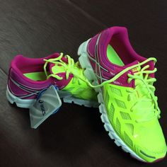 "Brand new Asics Women's running shoe NWT ""Gel-Lyte"" women's running shoe. Neon yellow/white/hot pink. Size 8.5. Brand new in box asics Shoes Athletic Shoes"