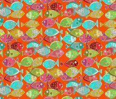 fish orange fabric by scrummy on Spoonflower - custom fabric