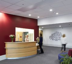 Calm environment takes stress out of learning. Reception Desk Design, Reception Areas, Office Interior Design, Office Interiors, School Office, High School, School Reception, School Bulletin Boards, School Programs