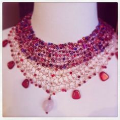 angelina + phoebe = two of our beadwork necklaces at StringTheoryDesigns.com make a bold statement.