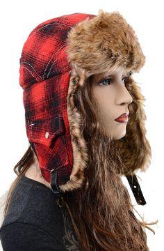 Red Plaid Super Furry Vegan Cold Weather Ushanka Unisex Trapper Hat