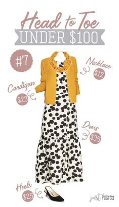 ShopStyle Look by justposted featuring Who What Wear Women's Polka Dot Sleeveless Ruffle Midi Dress - Who What Wear Cream/Black and Women's Any Day Long Sleeve Cardigan - A New DayTM Diva Fashion, Fall Fashion Trends, Autumn Fashion, Fashion Looks, Cool Outfits, Casual Outfits, Fashion Outfits, Classic Outfits, Skirt Fashion
