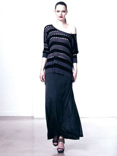 Astor Stripe Asymmetrical Knit and Adel Maxi Skirt www.polclothing.com.au