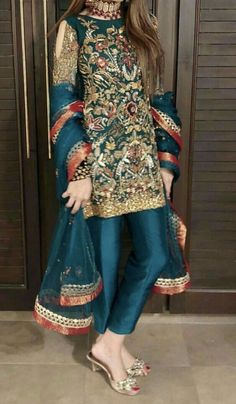 embroidered dress for wedding functions Pakistani Party Wear Dresses, Shadi Dresses, Designer Party Wear Dresses, Pakistani Wedding Outfits, Pakistani Dress Design, Indian Dresses, Fancy Dress Design, Stylish Dress Designs, Bridal Dress Design