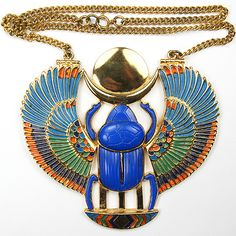 Thomas Fattorini Ltd Giant Gold Lapis and Enamel Egyptian Revival Scarab Pendant Necklace
