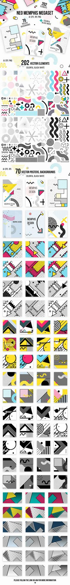 272 patterns, posters, elements. MEMPHIS MEGAset on Behance
