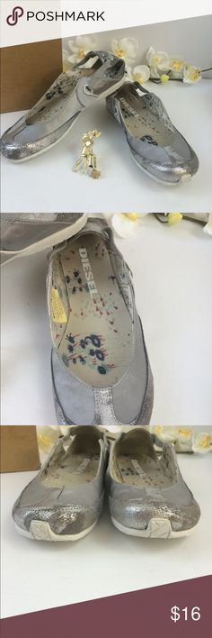 Diesel women's shoes silver Kallana Sz 6.5 Diesel women's shoes silver Kallana Sz 6.5, pre owned very comfortable good condition as expected from a previous owned shoes Diesel Shoes Flats & Loafers