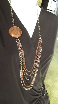Long Asymmetrical  Multistrand Necklace with Red by BijouxArtemis, $49.00 #necklace #chains