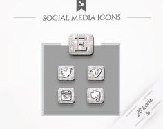 Social Media Buttons Glow  Swarovski Crystals by FlyBirdBranding