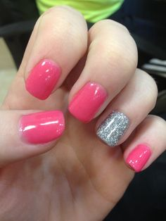 Pink with a glitter accent Pretty and Chic: 15 Manicures that Embrace Pink Panache