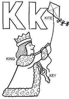 King And Kite Alphabet Coloring Pages Free