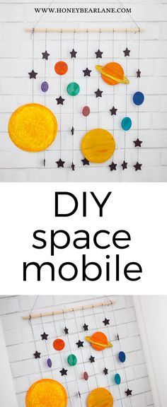 DIY space mobile--love how cute and colorful this solar system craft is! #ad #colorize