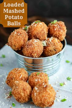 Loaded Mashed Potato Balls are the perfect way to use up leftover mashed potatoes. Filled with goodness, fried to golden perfection, these creamy bites are finished with the sharp bite of fresh-grated Parmesan cheese Cheddar Potatoes, Loaded Mashed Potatoes, Leftover Mashed Potatoes, Cheese Potatoes, Veggie Recipes, Snack Recipes, Potato Recipes, Appetizer Recipes, Potato Appetizers