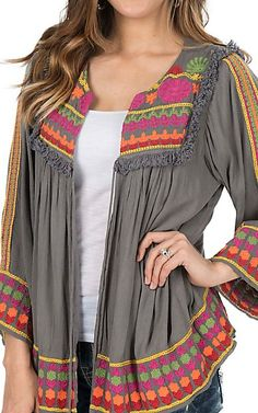 Ivy Jane Women's Grey with Floral Embroidery Long Bell Sleeve Fashion Top | Cavender's