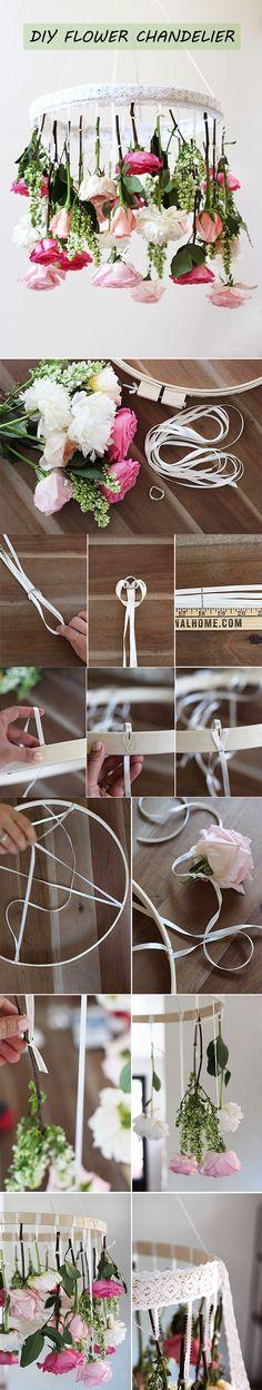 easy to diy flower chandelier wedding decor ideas
