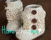 Furrylicious Baby Boots Crochet Oatmeal / Tan