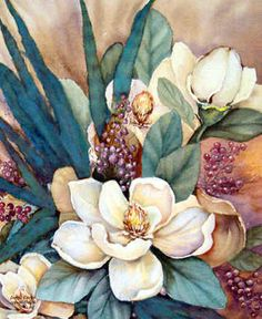 Southern Magnolias III by Jamie Carter ~ floral