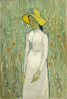 Vincent van Gogh - Girl in White, aka Young Girl Standing Against a Background of Wheat, 1890, Auvers-sur-Oise, oil on canvas, National Gallery of Art, Washington, D.C.  He painted this during the last months of his life.