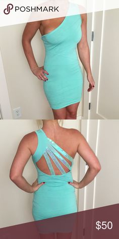 Wow Couture Mint Bodycon Bandage Dress Sexy mint green Bodycon bandage dress. One shoulder strap. Beautiful back detail with mint iridescent sequins. Tight Bodycon bandage material. WOW couture Dresses Mini