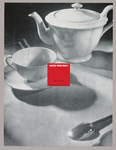 A full-page black and white photograph, with gray tones predominant, features a china teapot on the upper right, its handle abutting the right edge; a teacup and saucer on the center left, the edge of the saucer abutting the left edge; and in the lower right-hand corner, a teaspoon, slanting downward, its handle aborted by the right edge of the page. The objects cast soft shadows and reflect points of light. In the center of the page, its left edge superimposed on the right side of the cup…