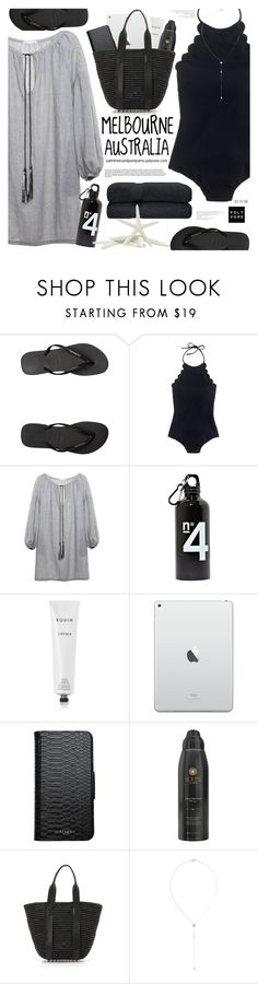 """Melbourne Today 35.c (95.f) .......☀️/ J.Crew One Piece Swimsuit"" by palmtreesandpompoms ❤ liked on Polyvore featuring Havaianas, J.Crew, Rodin, Witchery, Soleil Toujours, Alexander Wang and Scosha"